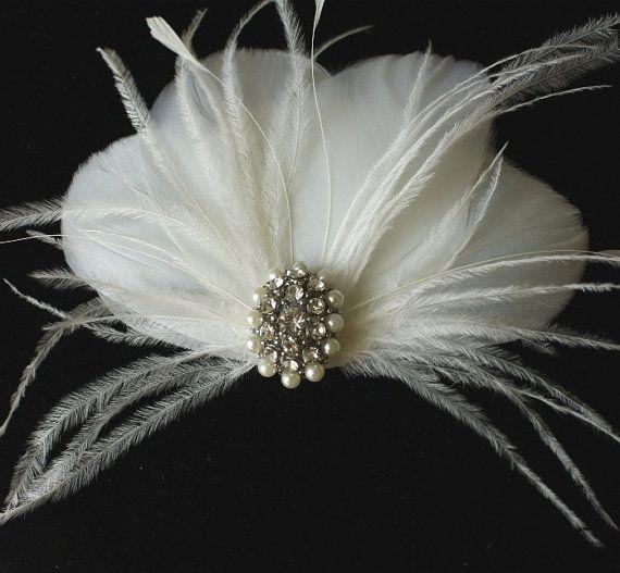 Bridal  Feather Fascinator Wedding Head Piece