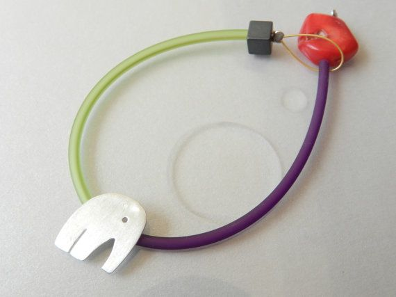 Silver elephant bracelet coral rubber: Minimal gift! Modern gift!