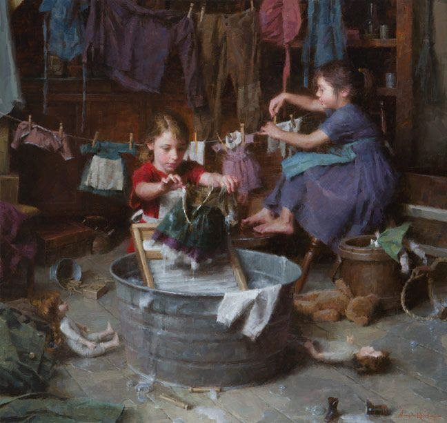 """The Doll Laundry"", by American artist - Morgan Weistling (1964 - ), Oil on canvas, 38"" x 40"", 2012 Autry Museum, Masters of the American West show"
