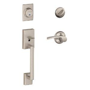 Schlage F60 V CEN 619 MER Century Handle Set with Merano Lever Interior, Satin Nickel by Schlage Lock Company. Save 52 Off!. $149.00. From the Manufacturer                Your front door is the place where security and style meet. That's why the front entry handle set you choose matters so much. To ensure your home's security, all Schlage front entry handle sets are precision-engineered and easy to install. And to compliment your home's style, Schlage offers a wide variety of di...