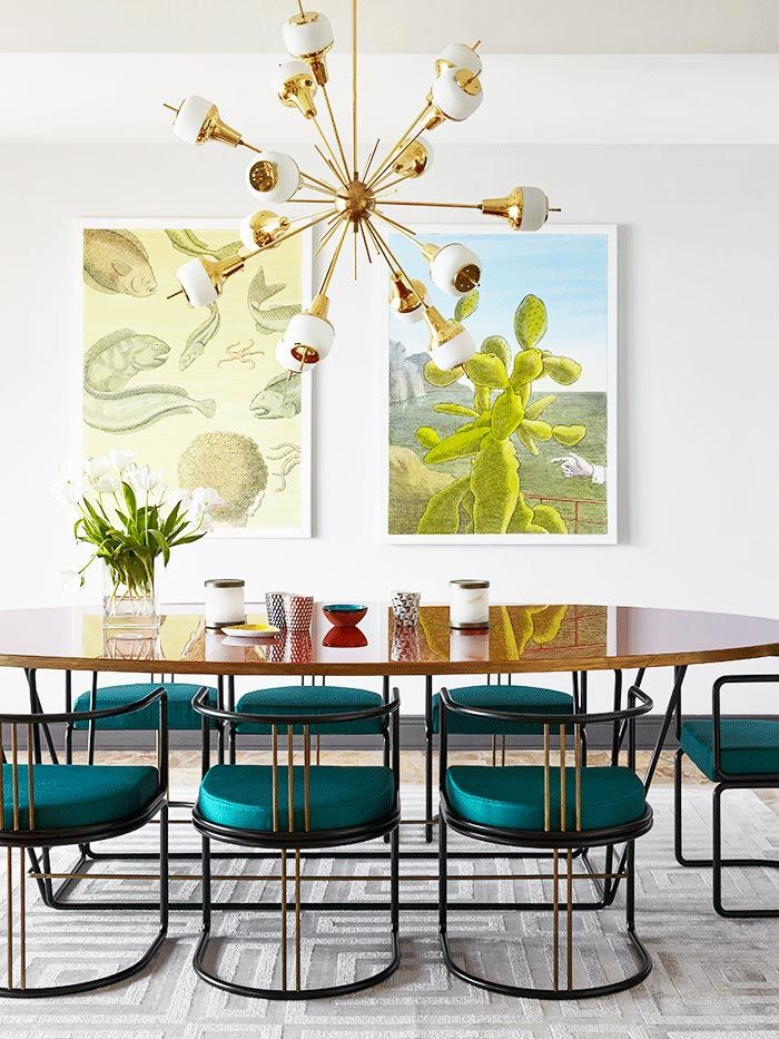 a monaco flat full of retro glamour ad architectural digestmodern interior designmodern interiorsmonacodining room - Colorful Modern Dining Room