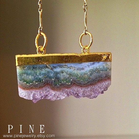 Amethyst Slice Necklace by pinejewelry on Etsy,