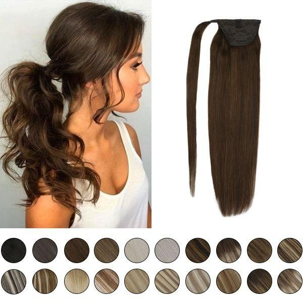 Clip In Ponytail Human Hair Extensions Dark Brown 4 In 2020