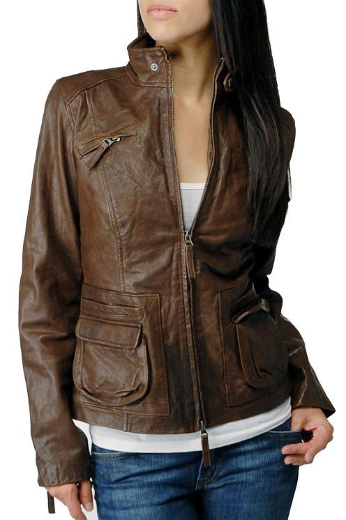 Chocolate Brown Leather Jacket Ladies - Coat Nj