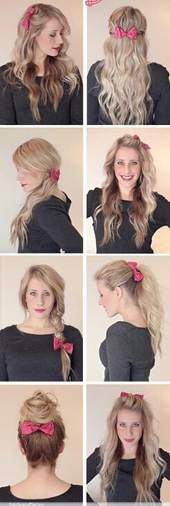 Cute hair styles with the same bow!