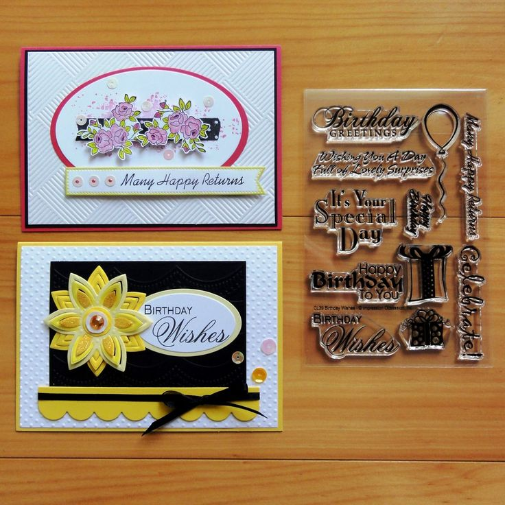 IMPRESSION OBSESSION BIRTHDAY WISHES & SENTIMENTS CLEAR STAMPS 11 PCS