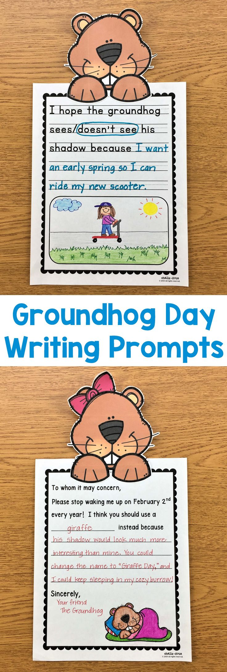 Groundhog Day Writing Prompts -These cute writing prompts are great to use anytime during the week of Groundhog Day. They are perfect to spark your kids' creativity and help them get excited about writing! There are many different fun prompts to choose from so you can select the one(s) that best match the ability level of your class. #GroundhogDay