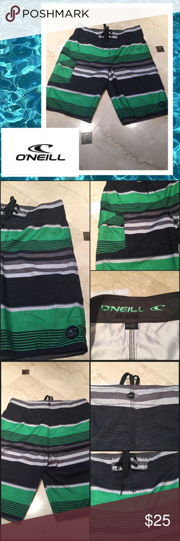 "🎊HP-6/5/17🎊💦Men's O'Neill board shorts💦 🎊HP-6/5/17- Mens style party🎊Men's O'Neill board shorts. Not lined. Great pattern of stripes of greys, black and green. One exterior Velcro pocket. Velcro/tie closure. Waist is size 30 and length measures 21.5"".  No rips or stains and in great condition. O'Neill Swim Board Shorts"