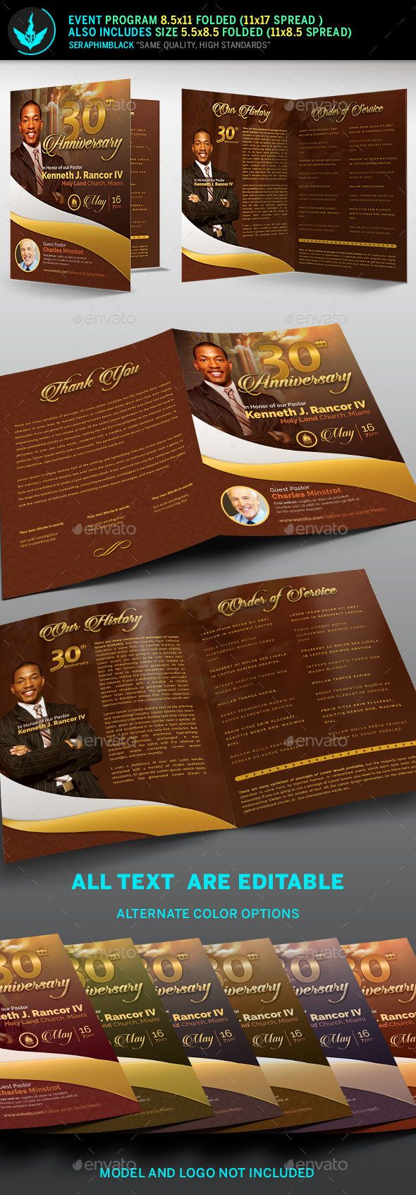 Pastor's Anniversary Program Template - #Informational #Brochures Download here: https://graphicriver.net/item/pastors-anniversary-program-template/18286515?ref=alena994