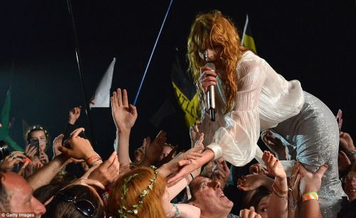 rixwilson: Florence Welch on the Pyramid Stage, on the first day of Glastonbury