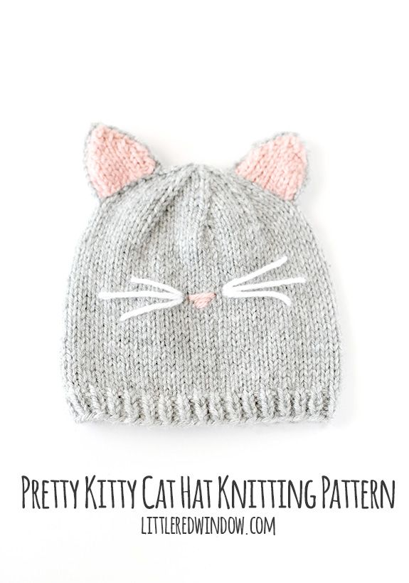 Pretty Kitty Cat Hat Knitting PatternCassie has designed a free tutorial with easy to follow pattern for this cute little cat beanie over at her blog Little Red Window.