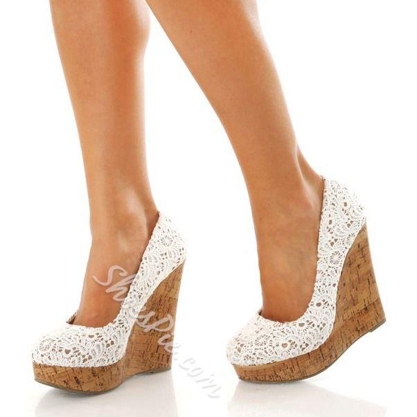 Shoespie Lace Wedge Heels