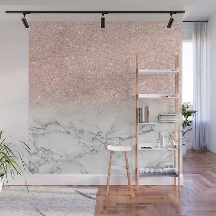 Buy Modern Faux Rose Gold Pink Glitter Ombre White Marble Wall
