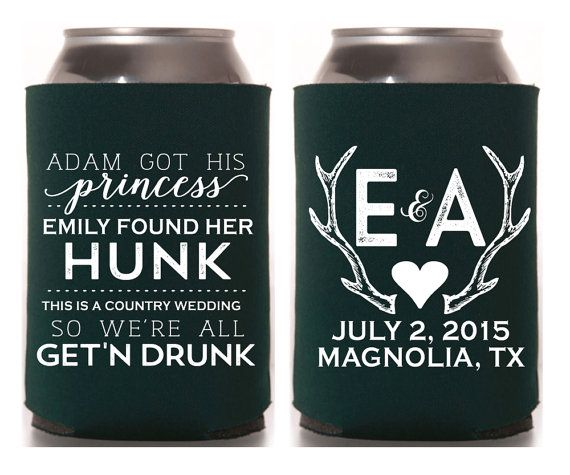 Personalized Koozies Wedding Koozies Princess Hunk by SipHipHooray