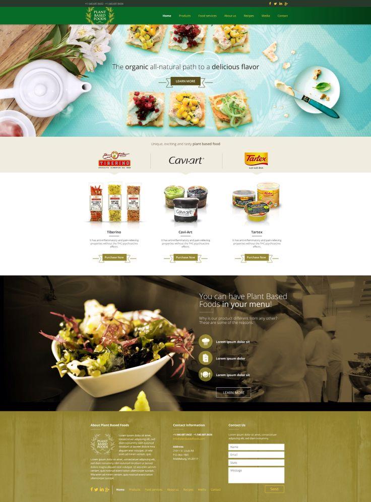 Diseño de sitio web de comida vegetariana