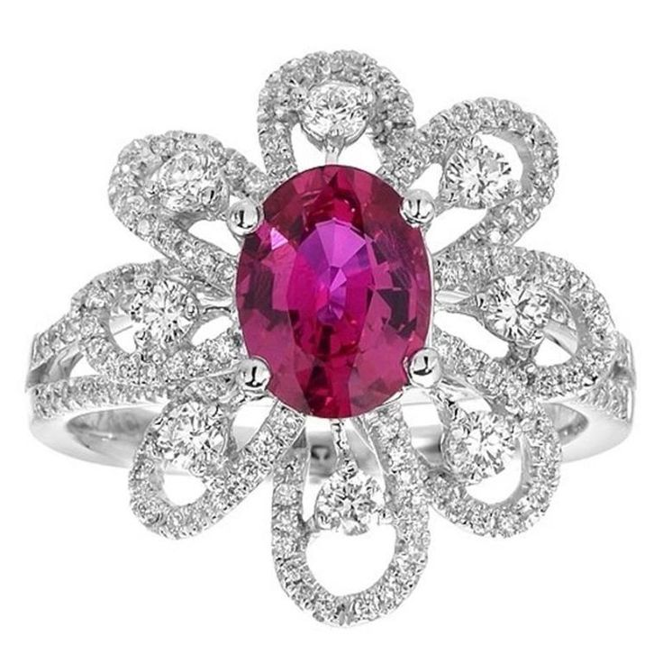 Burmese Red Oval Ruby & Brilliant White Diamond Pave Ring in Gold