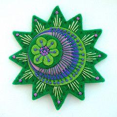 beautiful green and purple felt creation