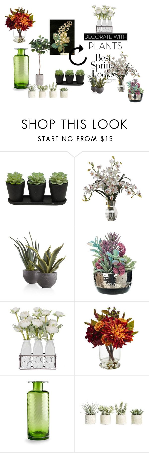 """#planters #plants"" by hajer-bh ❤ liked on Polyvore featuring interior, interiors, interior design, home, home decor, interior decorating, H&M, Nearly Natural, Cyan Design and Allstate Floral"