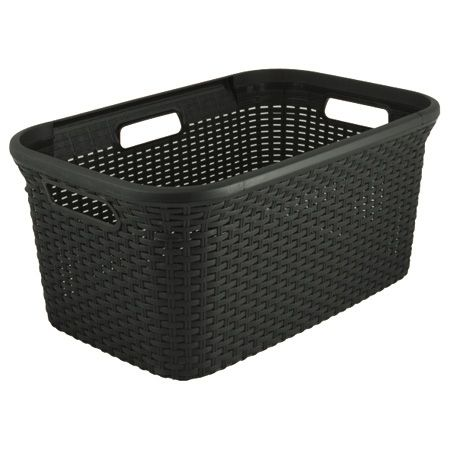 Howards Storage World | Curver Rattan Look Washing Basket Dark Grey - 45L