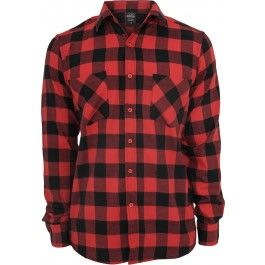 URBAN CLASSICS CHECKED BLACK RED FLANELL SHIRT
