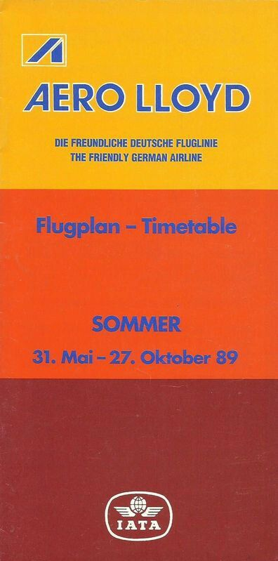 Aero Lloyd 1989 Timetable