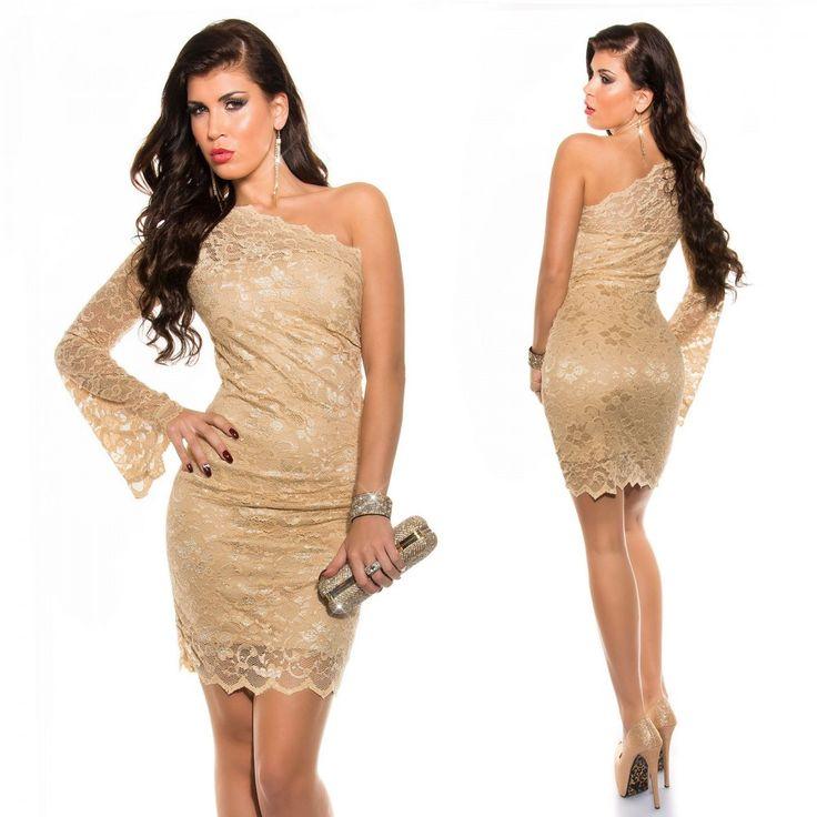 Arany félvállas csipkés ruha