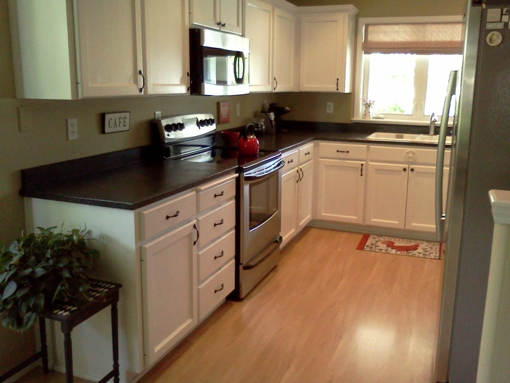 Charcoal With White Counter Top Appliances Kitchen Ideas on