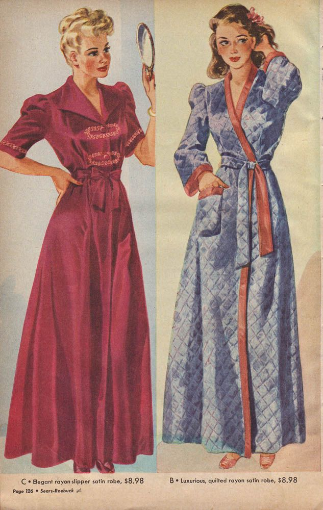 Two lovely, cozy robes from Sears Christmas Book, 1943. #vintage #fashion #1940s