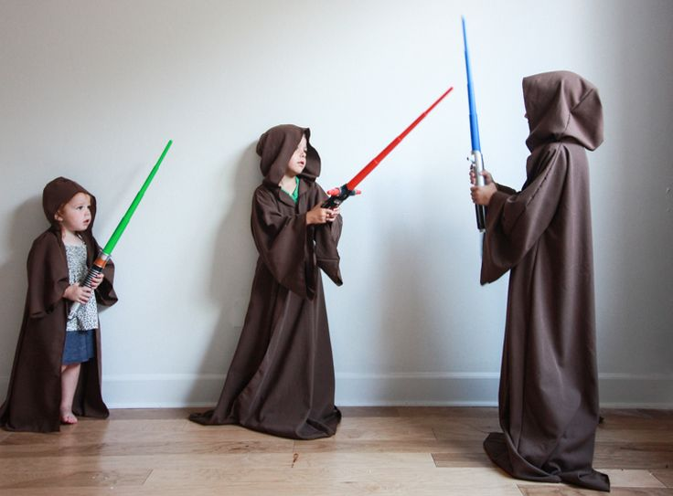 Make a DIY Jedi Robe with this quick and easy tutorial. No pattern required, just some fabric, measurements, and your trusty sewing machine or serger.