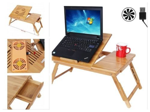 Portable Laptop Desk Bamboo USB Fan Adjustable Legs Folding Tray Bed Drawer Wood in Computers/Tablets & Networking, Laptop & Desktop Accessories, Stands, Holders & Car Mounts | eBay