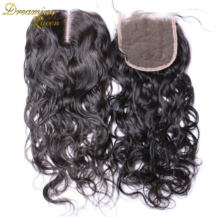 4X4 Brazilian Water Wave Closure Rosa 3 Way Part Human Hair Closure 7A Mink Brazilian Lace Closure Wet and Wavy Bleached Knots