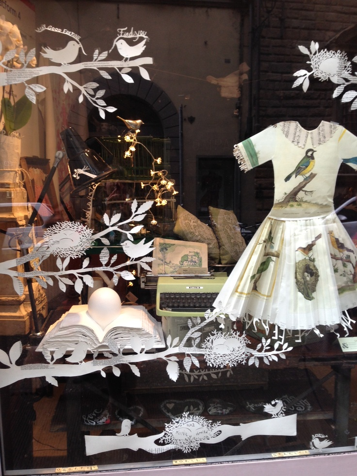Window display at And Company, Firenze  paperdress by Simone Bendix