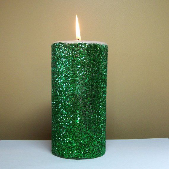 Green Glitter Unscented Decorative Pillar Candle Choose Size Handmade Pillar Candle Decor Emerald Green Weddings Spring Wedding Colors