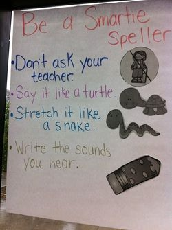 Spelling anchor chart for Kindergarten writers workshop. Say it like a turtle, stretch it like a snake.