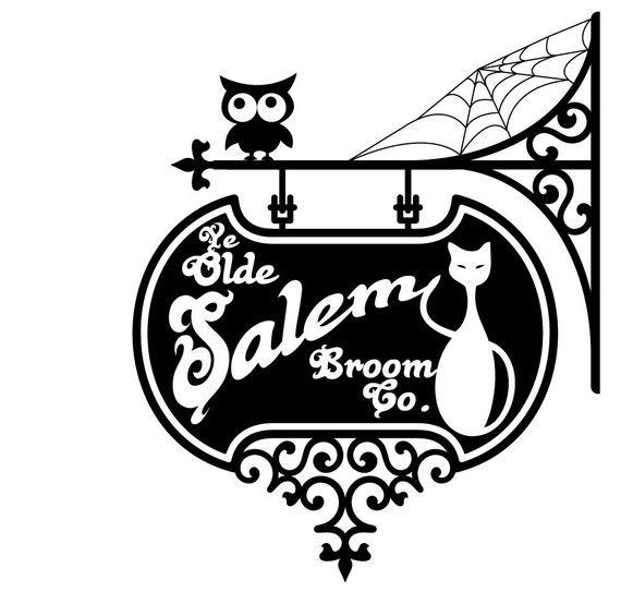 2 foot square $30    Vinyl Wall Decal Sticker Art - Ye Olde Salem Broom Co Sign - Halloween Decoration