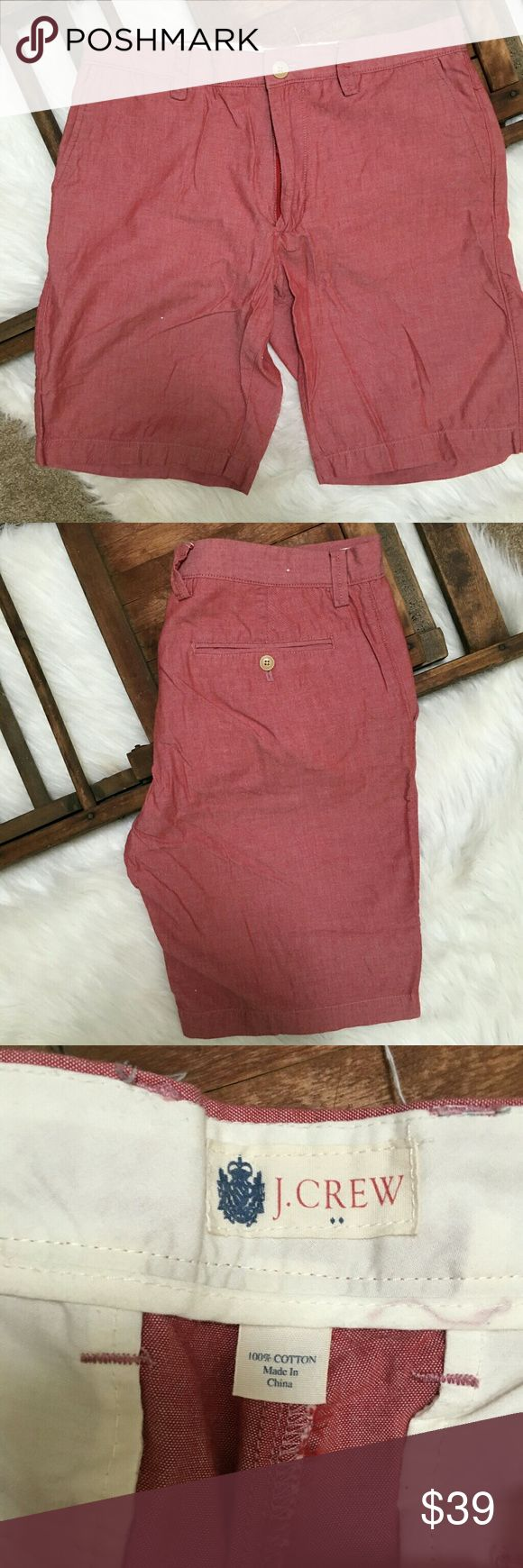 J Crew casual red shorts men's 33 NWOT shorts.  Casual red color meaning they look like linen, but are cotton. J. Crew Shorts Flat Front