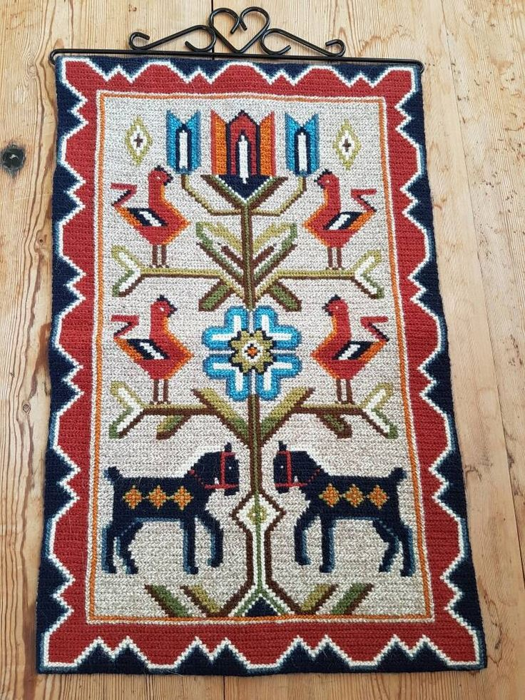 """Excited to share the latest addition to my #etsy shop: Lovely twist stitch / 22 1/2"""" x 13 3/4""""/needlepoint / wool / embroidered folk wall hanging/tapestry/wall decor from Sweden #homedecor #vintageswedish #sweden #woolyarn #embroidered #stitch #needlepoint #tapestry #wall tapestry http://etsy.me/2j2eJOp"""