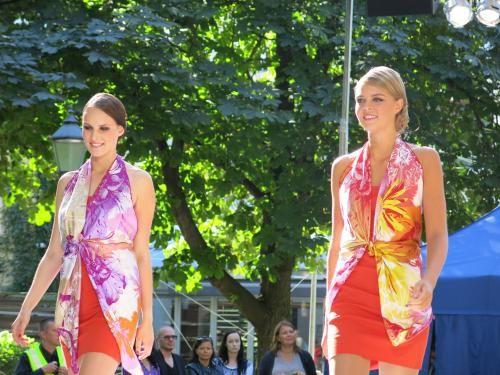 Fashion show, Helsinki. Kristiina Sulmio scarf designs for Marja Kurki.