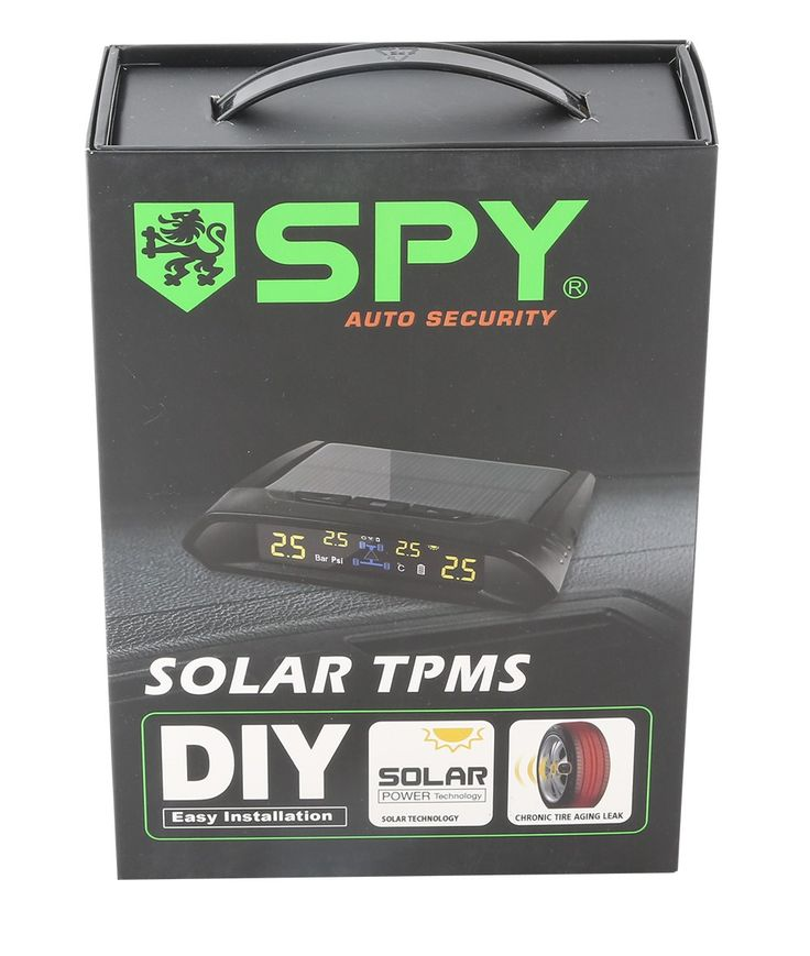 SPY brand good TPMS tire pressure monitor system with 4 internal sensors PSI or BAR unit optional and solar energy display