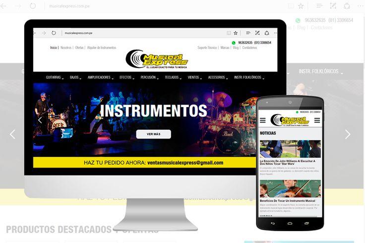 Diseño de Sitios Web Administrable y Reponsive de tienda de instrumentos musicales musica http://www.ingenioart.com/proyecto/web-tienda-musical-express/