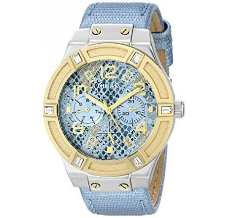 RELÓGIO GUESS WOMEN'S U0289L2 ICE BLUE PYTHON-PRINT MULTI-FUNCTION WATCH WITH DAY & DATE FUNCTIONS #RELÓGIO #GUESS