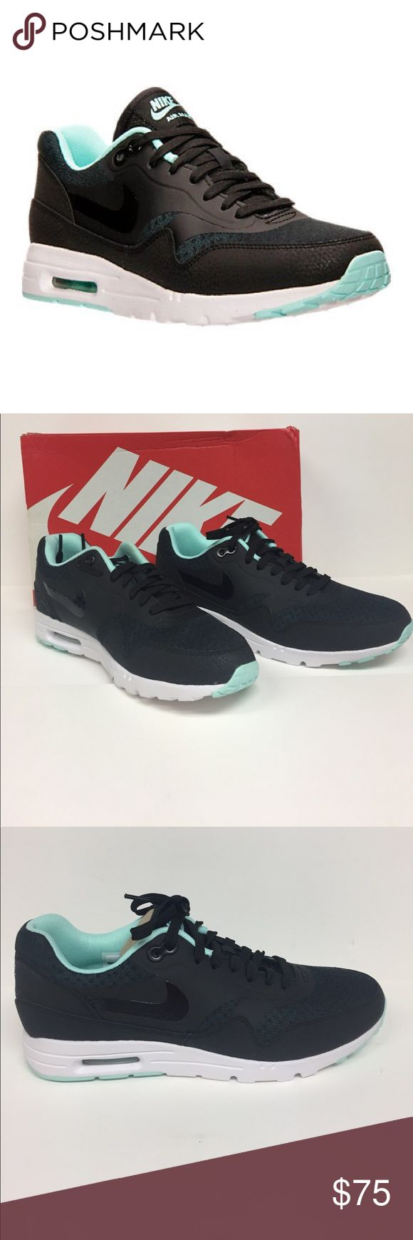 Nike Air Max 1 Essentials Running Shoe 704993 003 Super Lightweight midsole/outsole combo keeps you cool and comfortable all day long. Leather and textile upper. Visible Air sole unit in the heel for iconic cushioning you know and trust. Color is black/artisan teal/white. Brand-new in box. Nike Shoes Sneakers