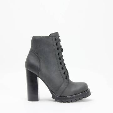 Jeffrey Campbell LEGION Black Distressed Leather Lace Up Lug High Heel Bootie