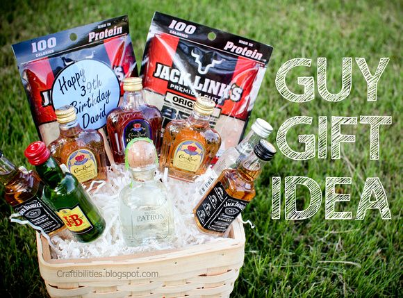 Basket Of BOOZE Fun GUY Birthday Gift Idea