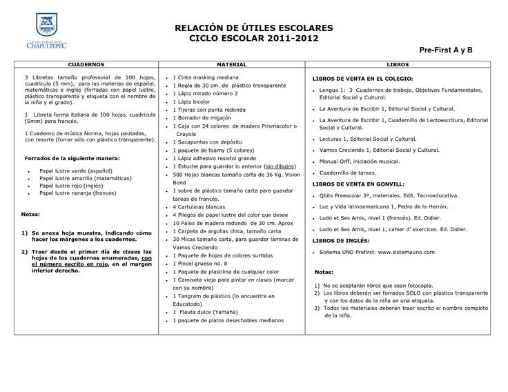 Colegio Chapultepec - Lista de utiles escolares