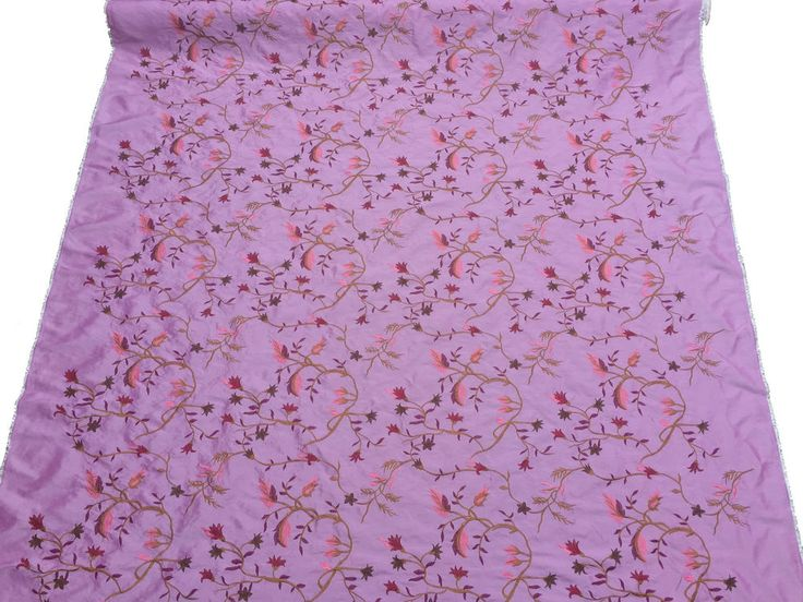 "Pink embroidery flowers taffeta fabric wedding dress bridesmaid flower girl 60"""