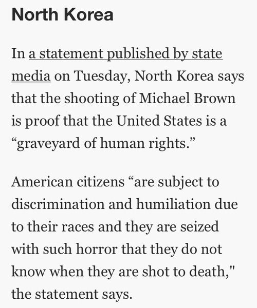 You know what you're doing is wrong if North Korea is looking down on you for human rights...