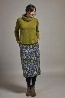 Midi Skirt Winter Birds - Smoke & Green
