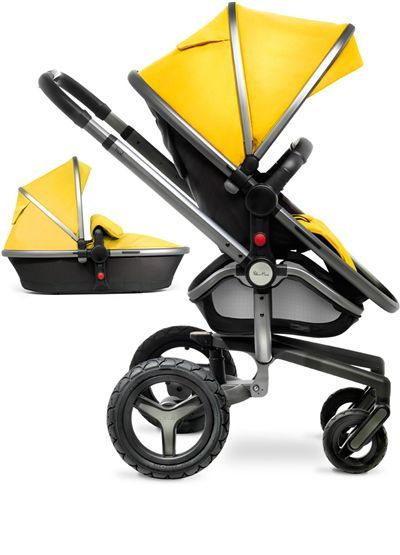 The yellow Surf 2 pram system from Silver Cross, shown here with the graphite-coloured chassis.