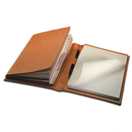 CORK-LEATHER ADDRESS BOOK  Cork-Leather Address Book Holder with Pad A5, cm.23×17, cover in kidskin and cork-leather, pen holder leather ring, N° 4 models available.